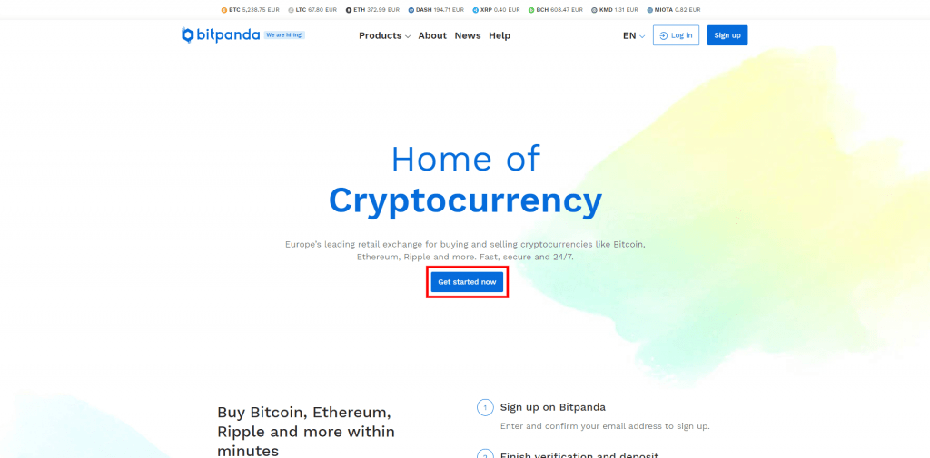 Stappenplan kopen en verkopen op Bitpanda: sign up