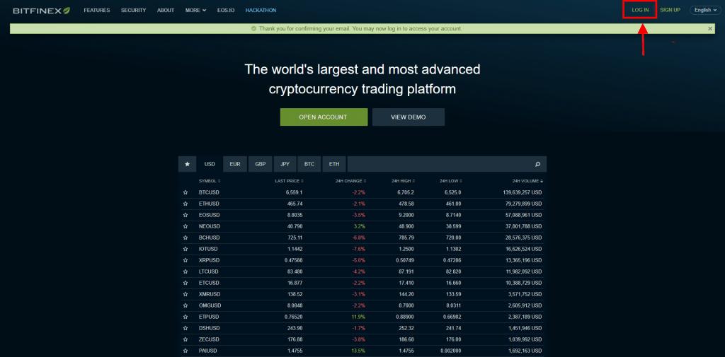 Stappenplan kopen en verkopen op Bitfinex: login