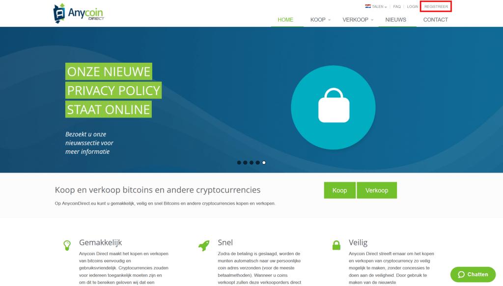 Stappenplan kopen en verkopen op Anycoin Direct: registeren