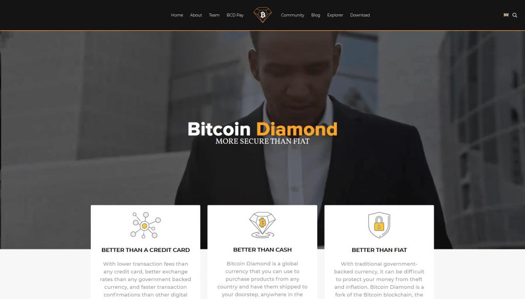 Bitcoin Diamond website screenshot